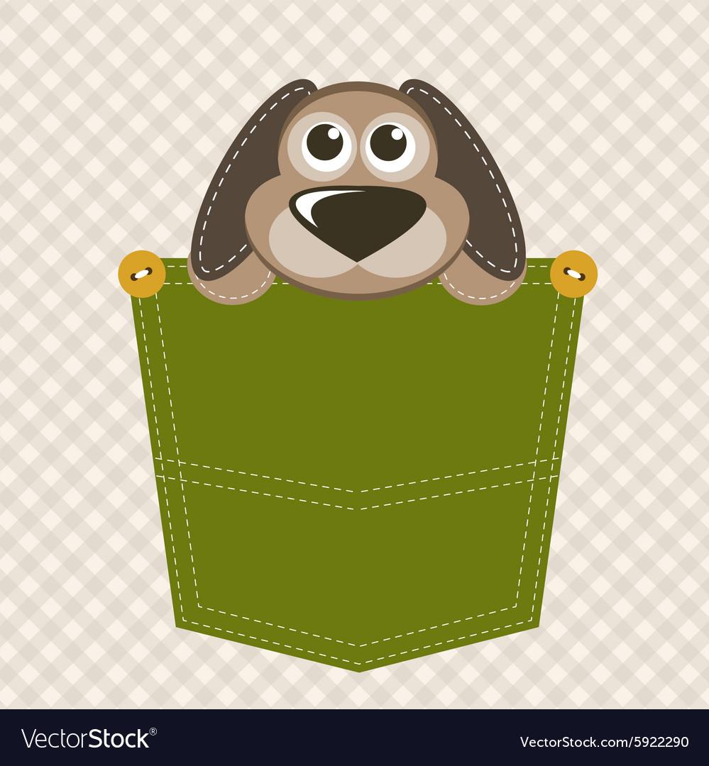 Cartoon dog in pocket
