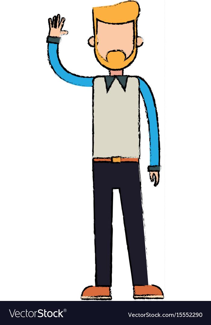 Character man waving hand people image