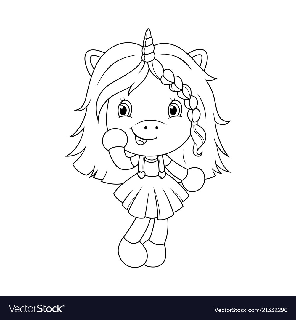 Cute baby unicorn coloring page for girls vector image