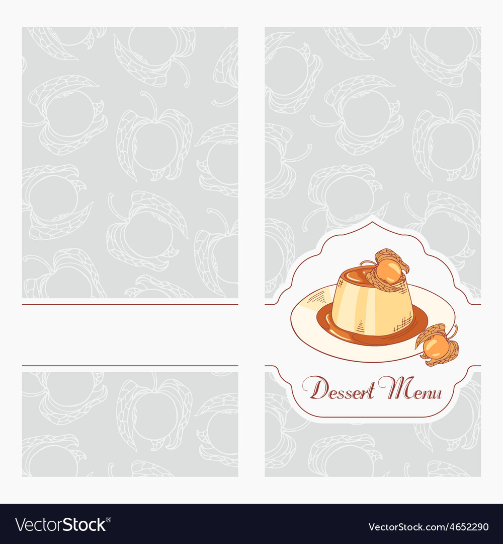 dessert menu template design for cafe royalty free vector
