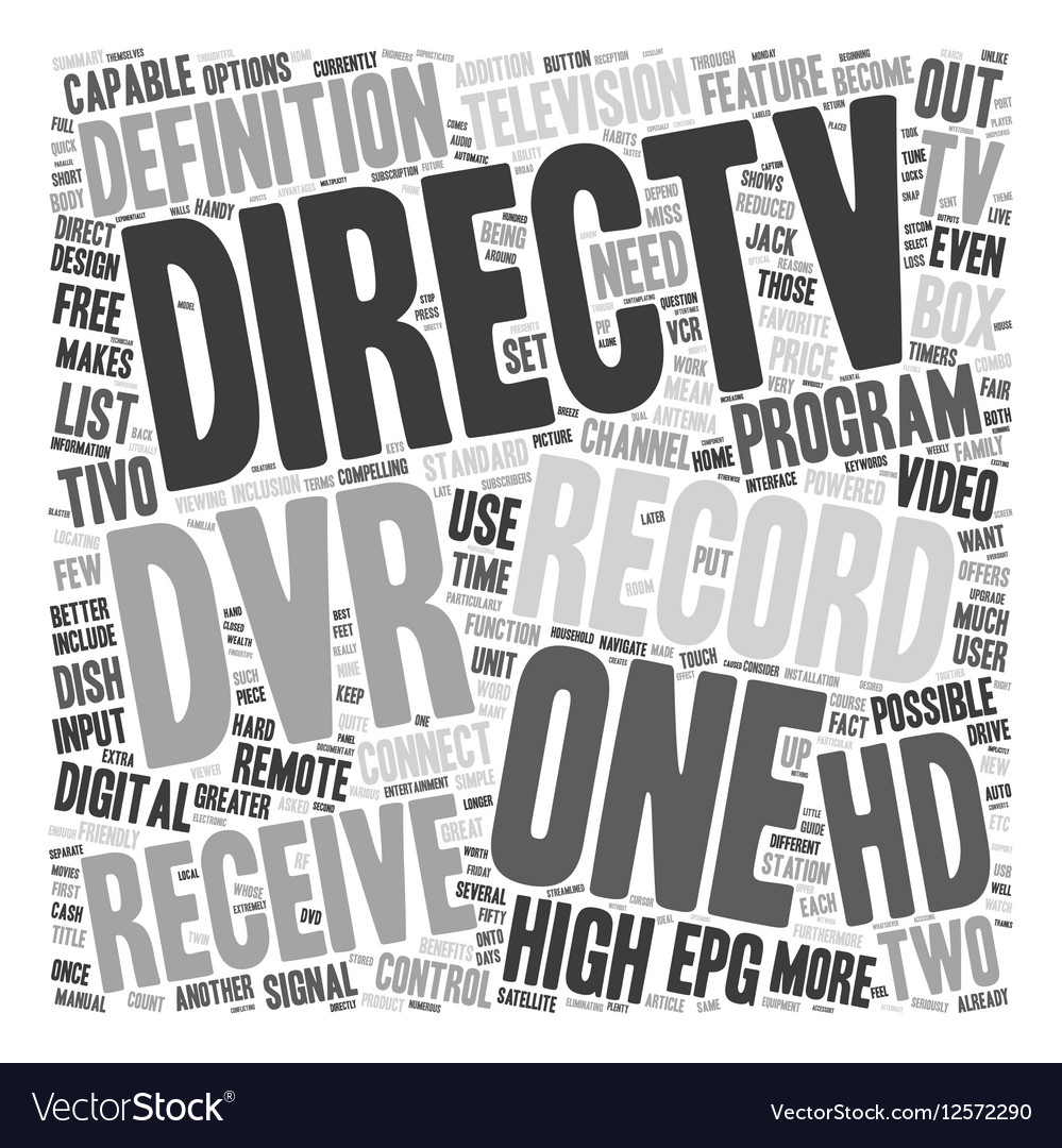 Direct TV and the HD DVR text background wordcloud