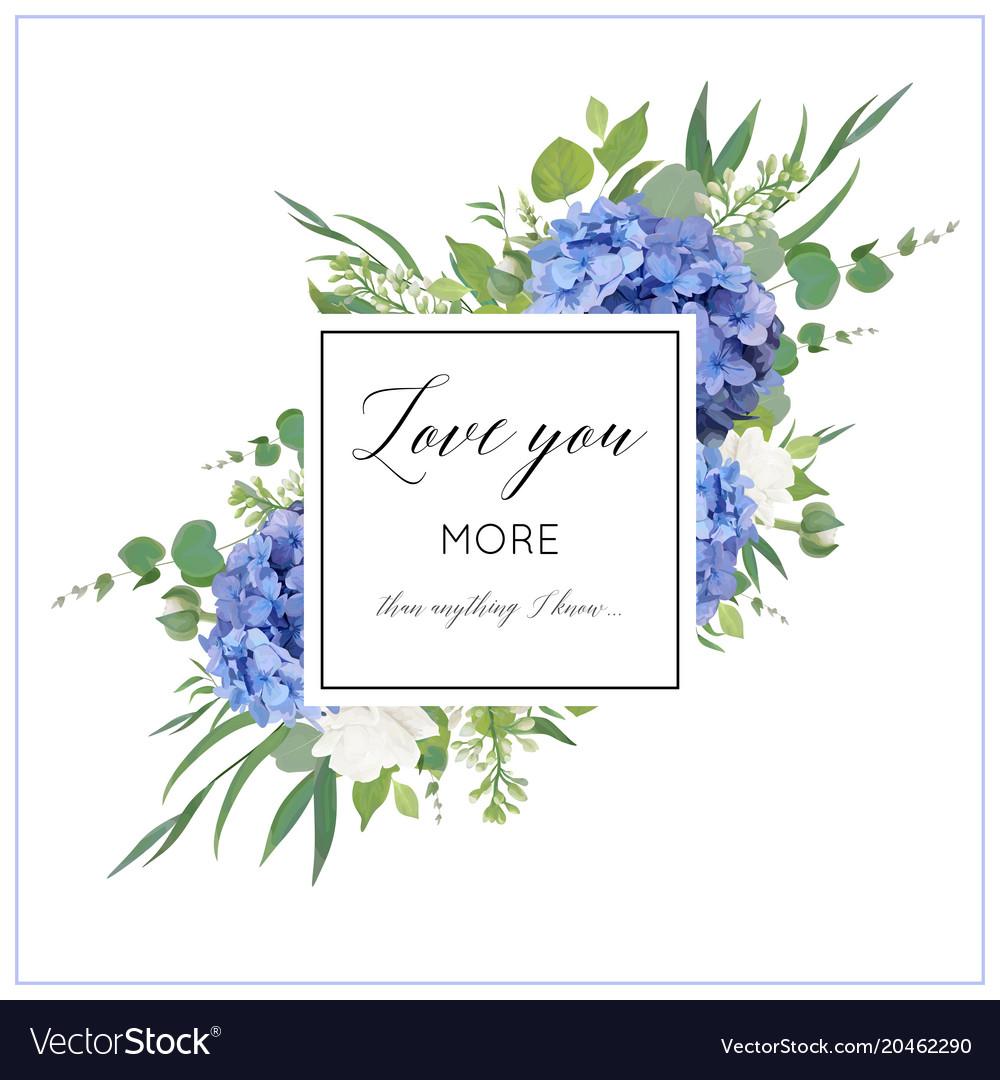 Floral print with blue hydrangea elegant bouquet