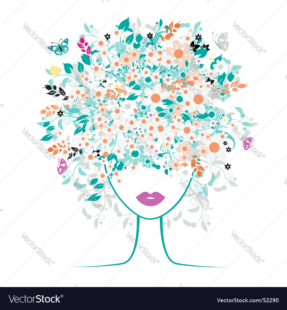Download Composite; Credits: 1. Description: Girl face, floral hairstyle