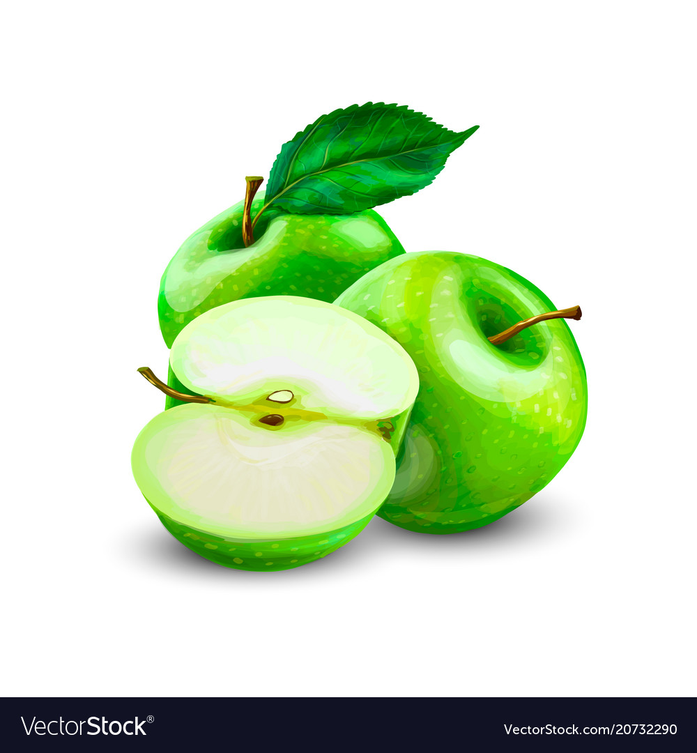 Green apples slice