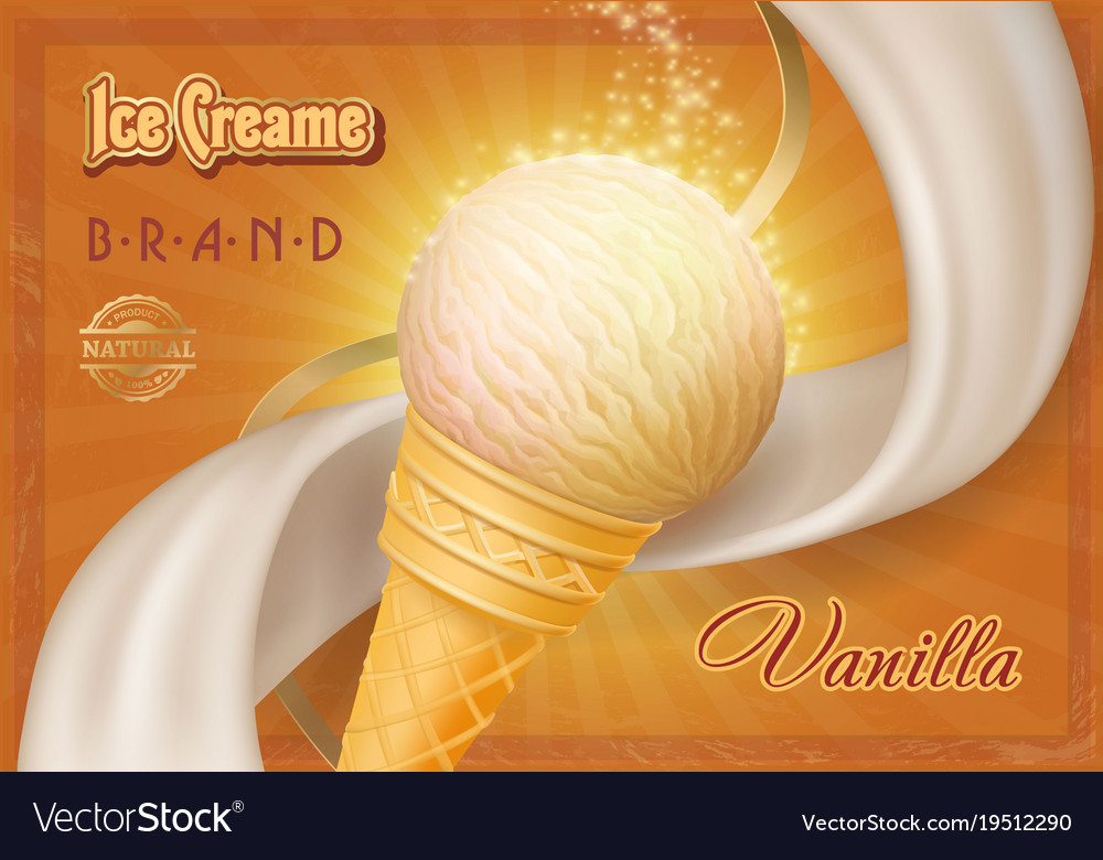 Ice cream in a cone vintage poster