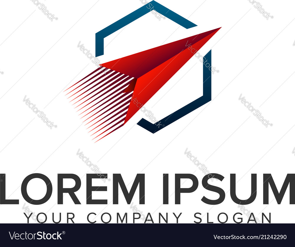 Paper airplane logo travel logo design concept