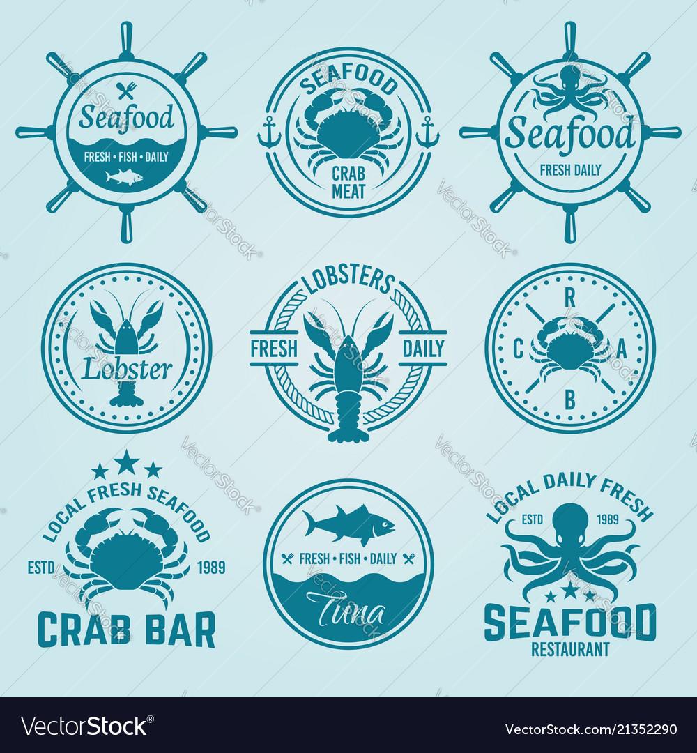 Seafood labels badges emblems and logos