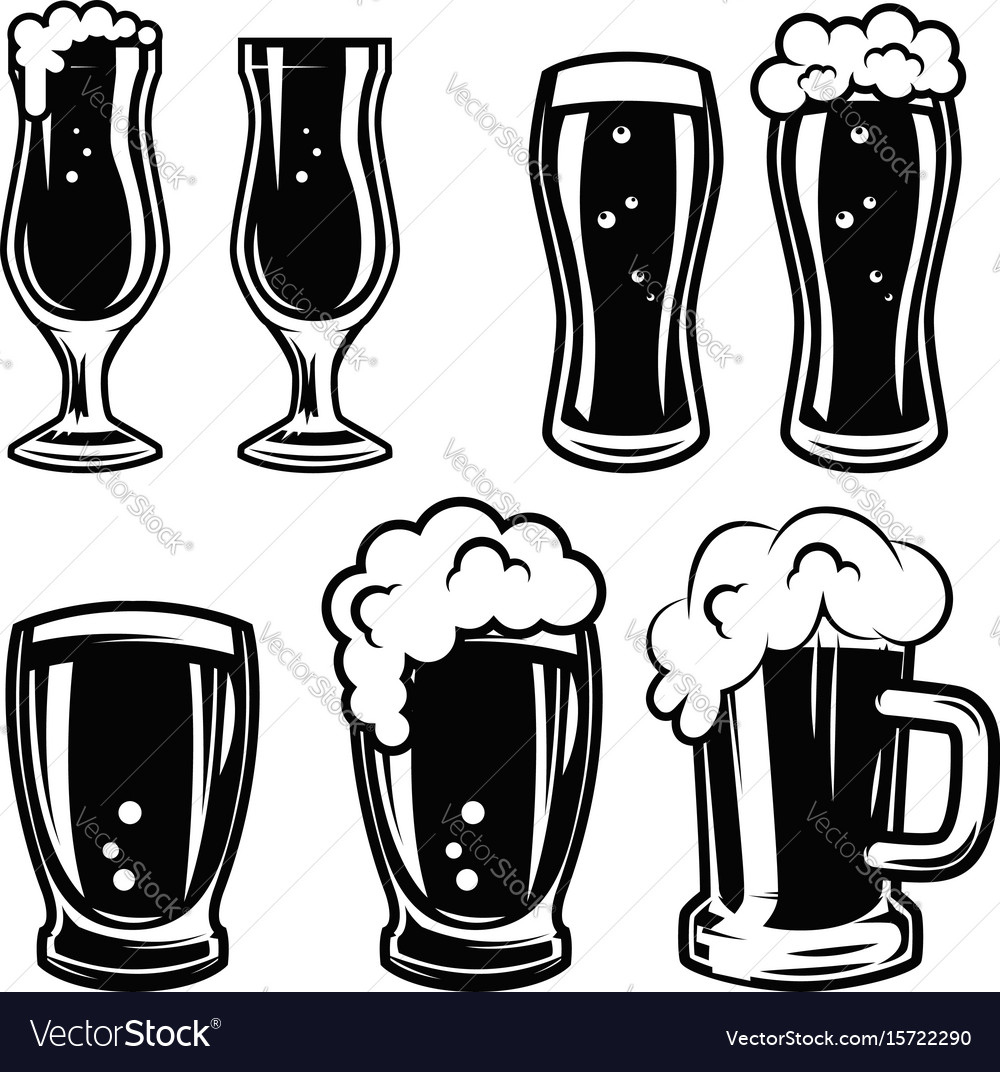 Set Beer Mugs Design Elements For Logo Label Vector Image