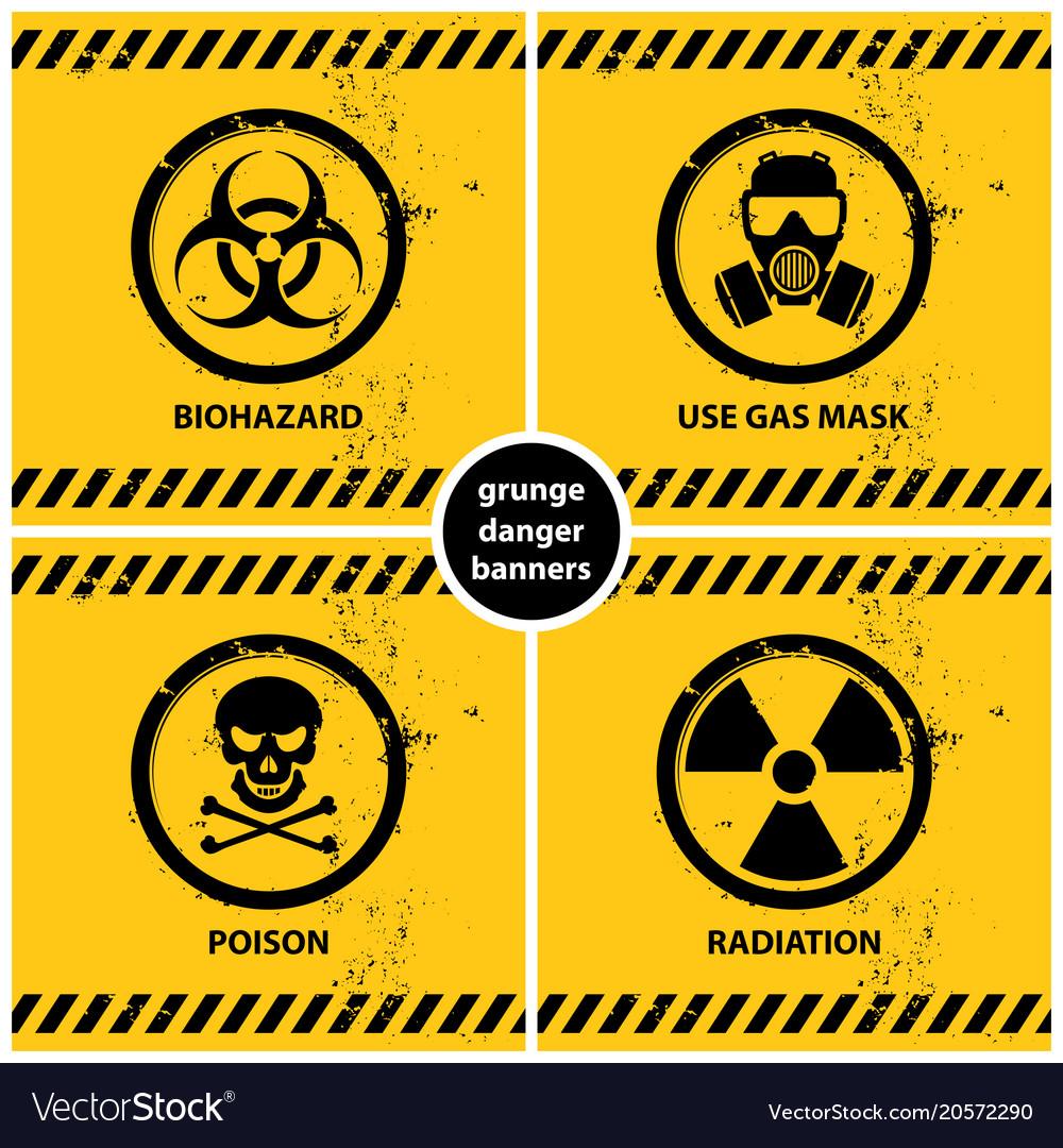 Set of grunge danger banners