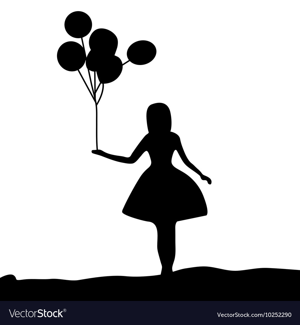 Silhouette Girl Holding A Balloon Royalty Free Vector Image