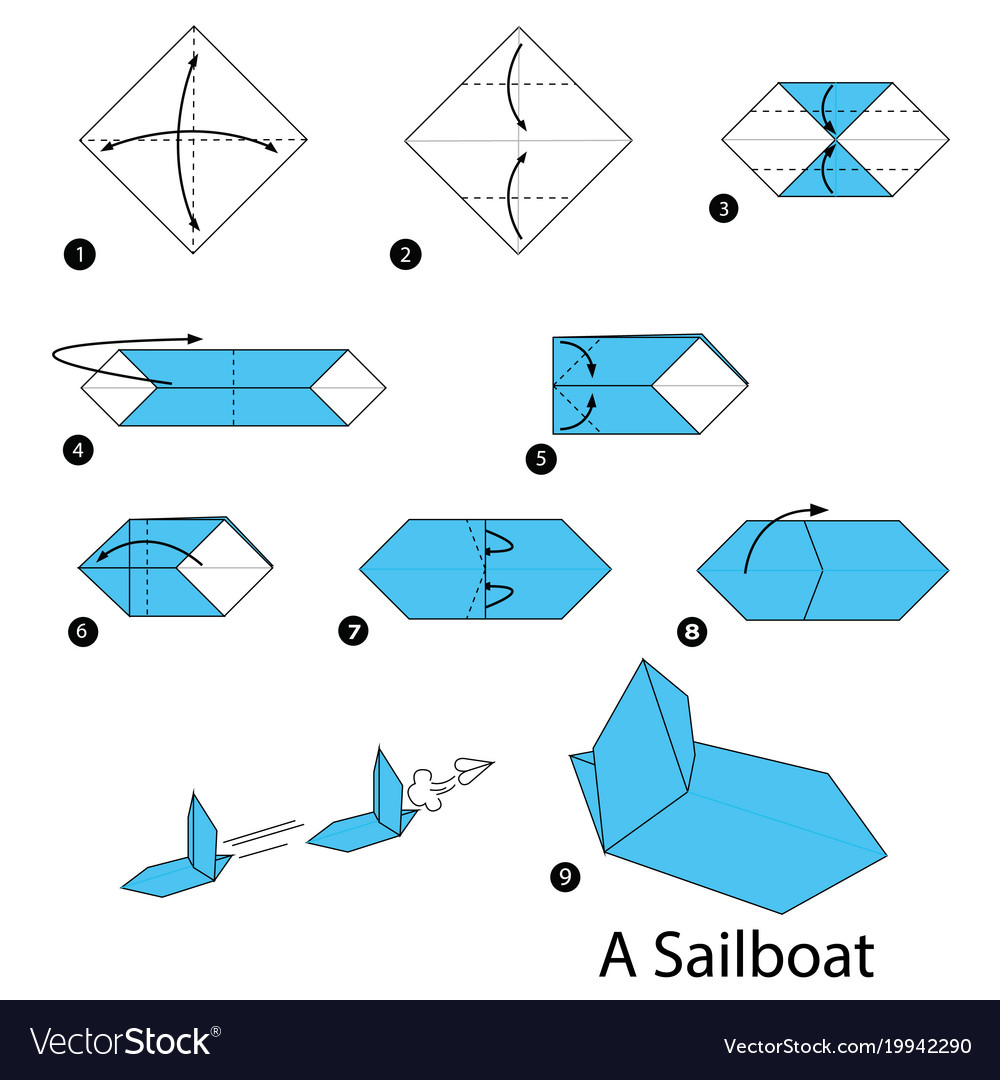 Origami Boat With 2 Sails Photo Tutorial - Paper Kawaii | 1080x1000