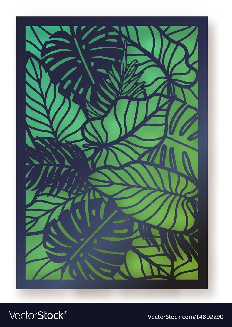 Summer foliage laser cut greeting card vector image
