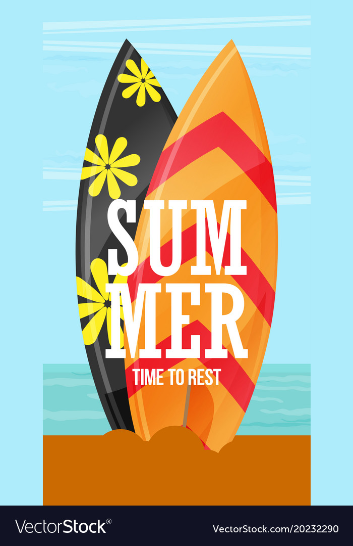 Surfboards on the beach flat design style