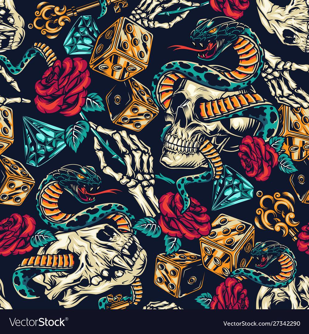 Vintage tattoos colorful seamless pattern