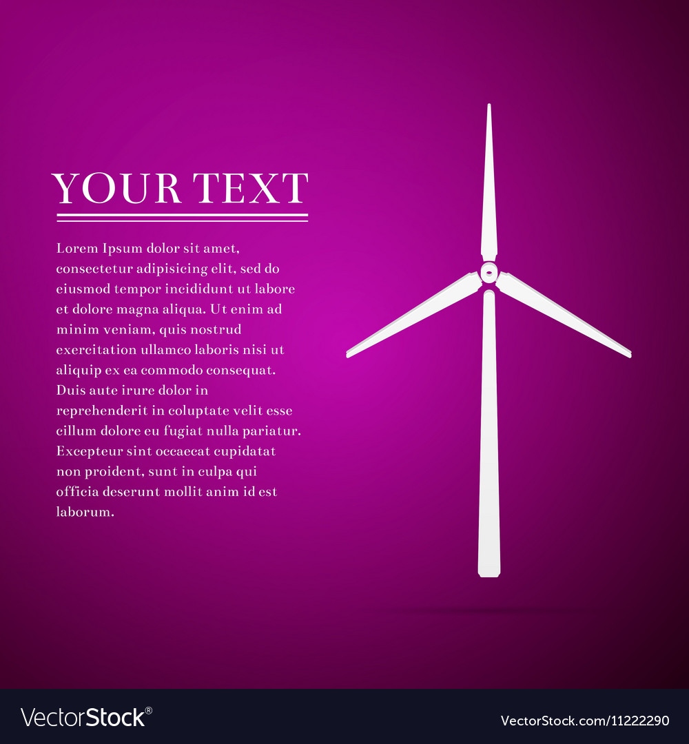 Wind generator flat icon on purple background vector image