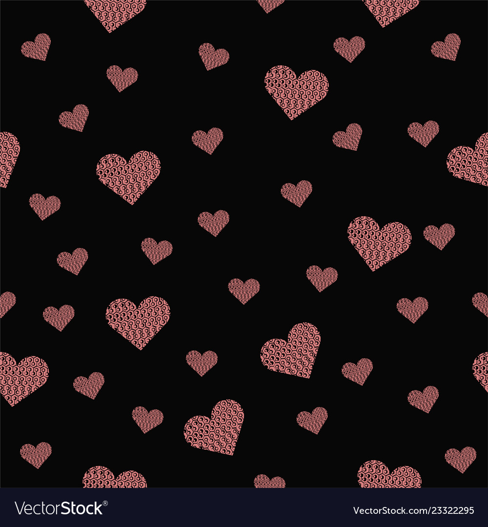 Beautiful seamless pattern with pink hearts on