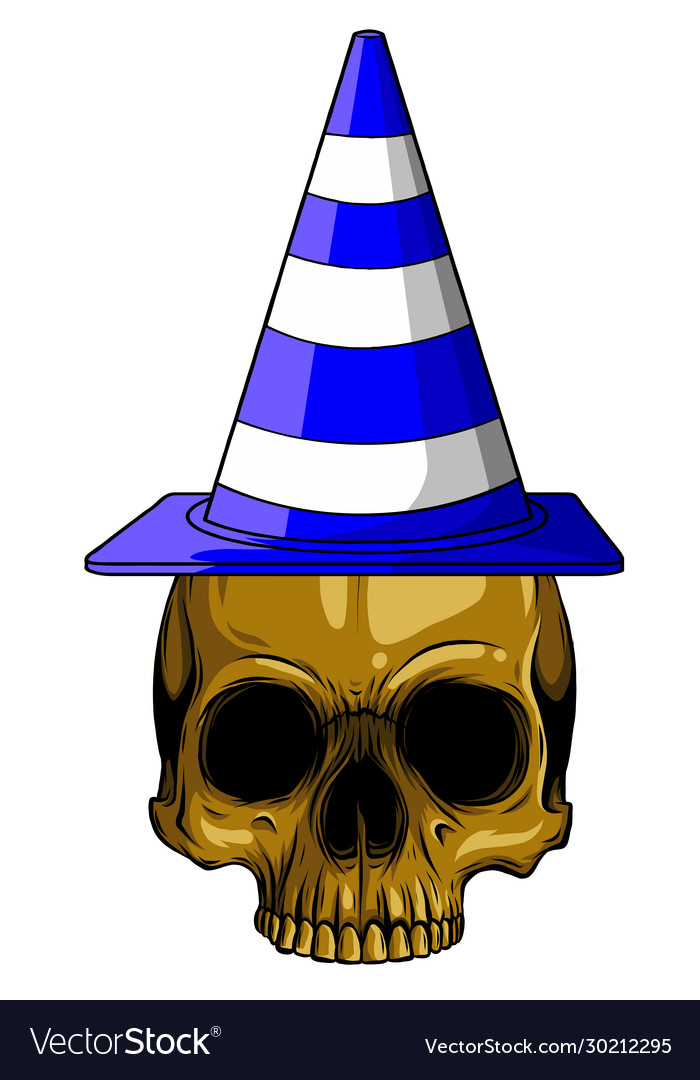 Blue cone hat with skull