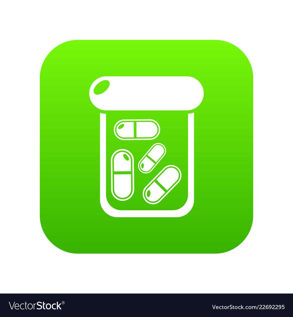 Bottle drug icon green vector image