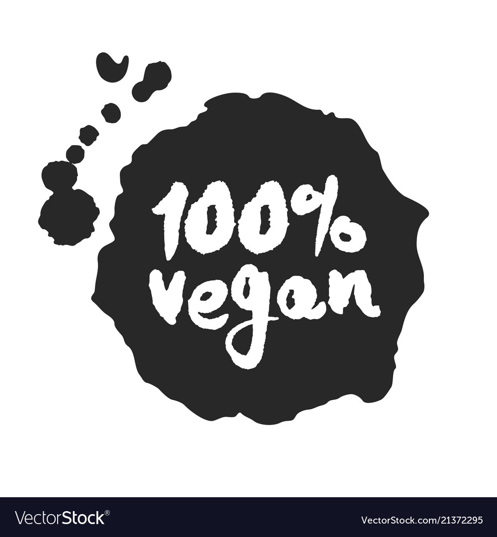 Calligraphy one hundred percent vegan label on a
