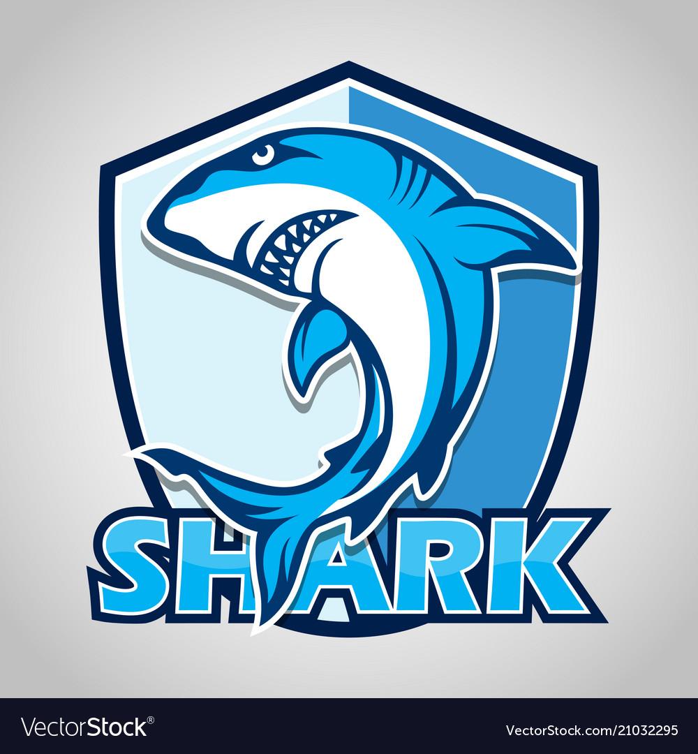 Cartoon shark with blue shield on gray