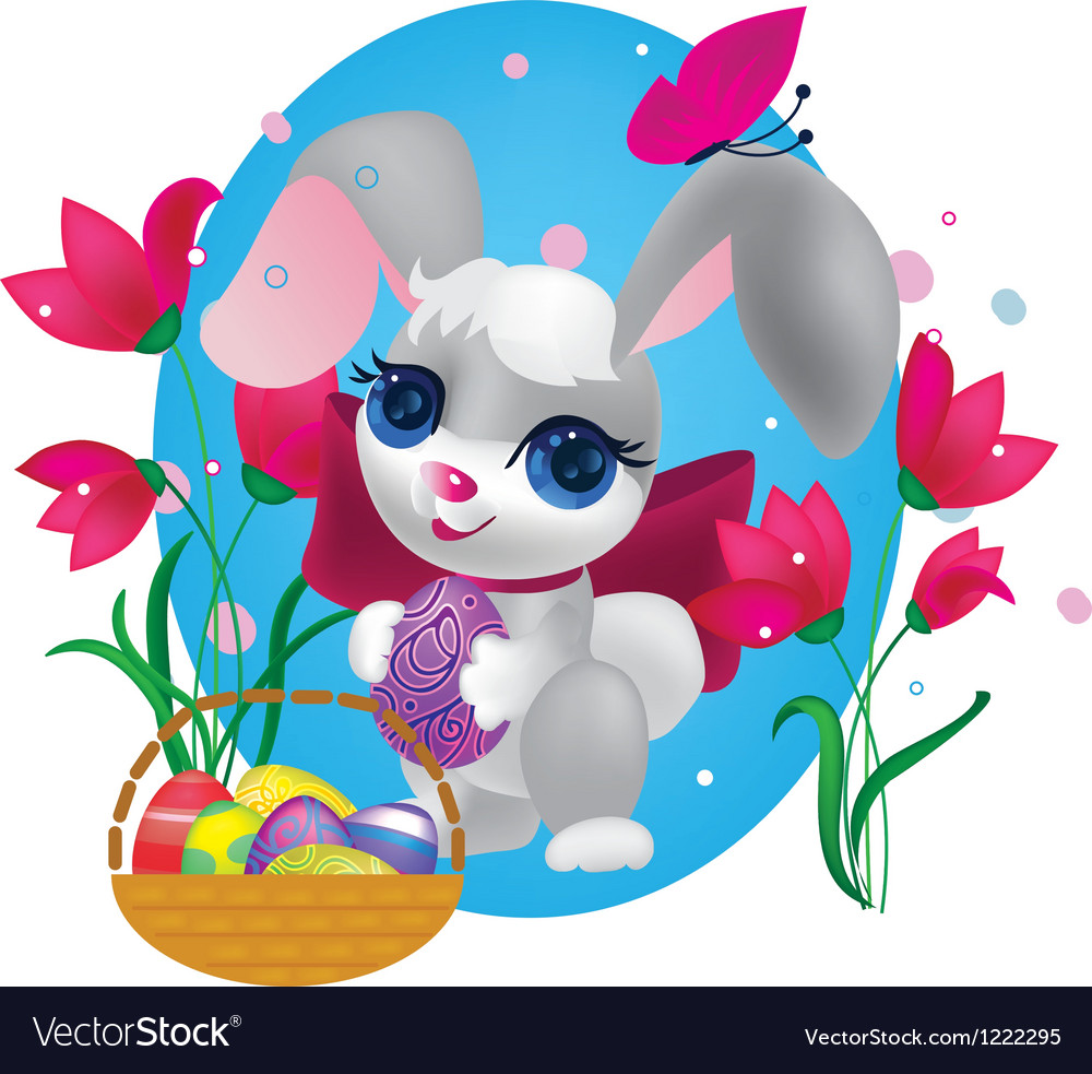 Cute bunny with decorative egg