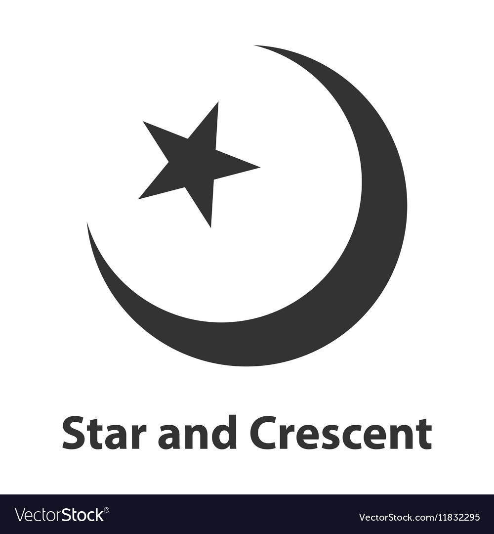 Icon Of Star And Crescent Symbol Islam Religion Vector Image