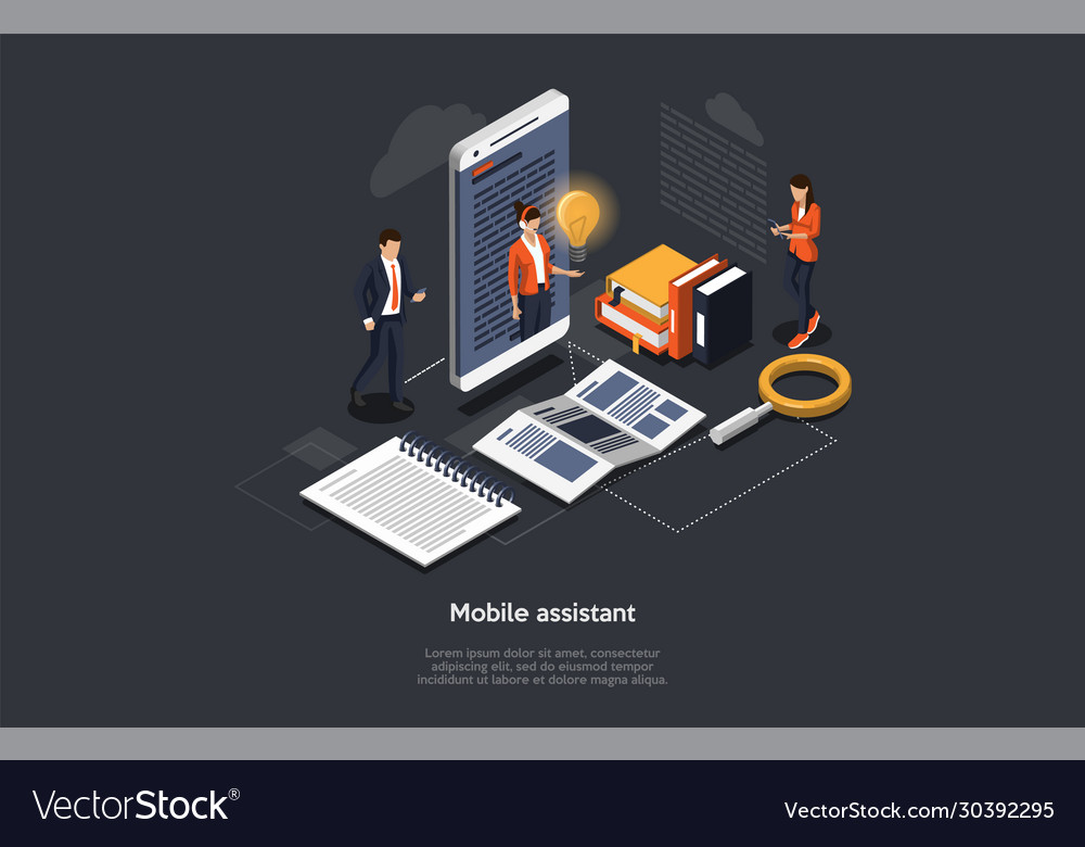 Isometric 3d mobile assistant online technical