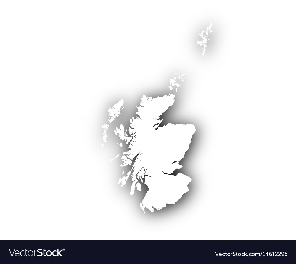Map of scotland with shadow vector image