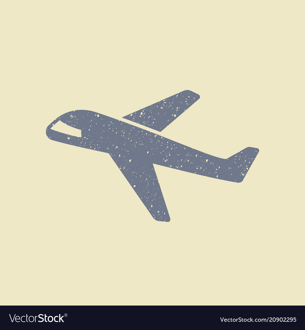 Plane icon in grunge style
