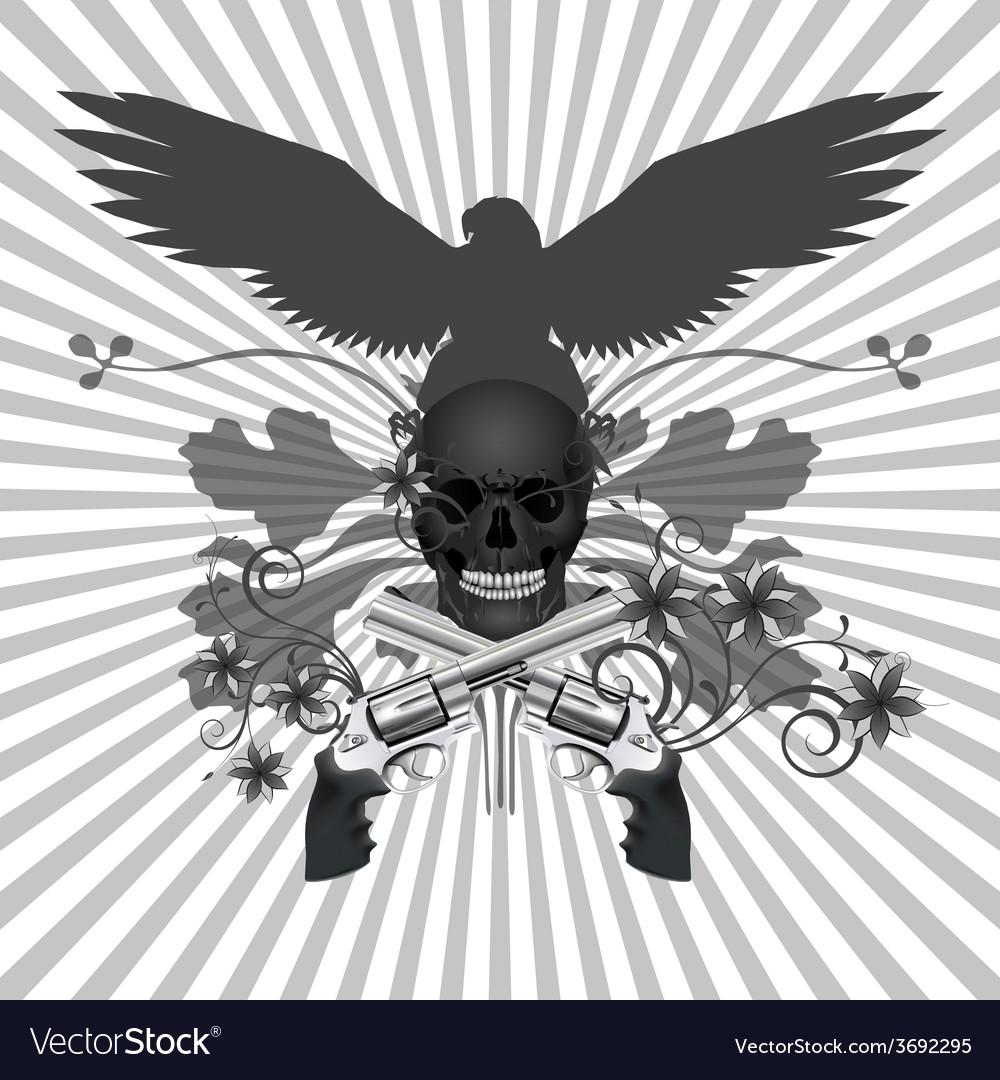 Skull with guns and flowers