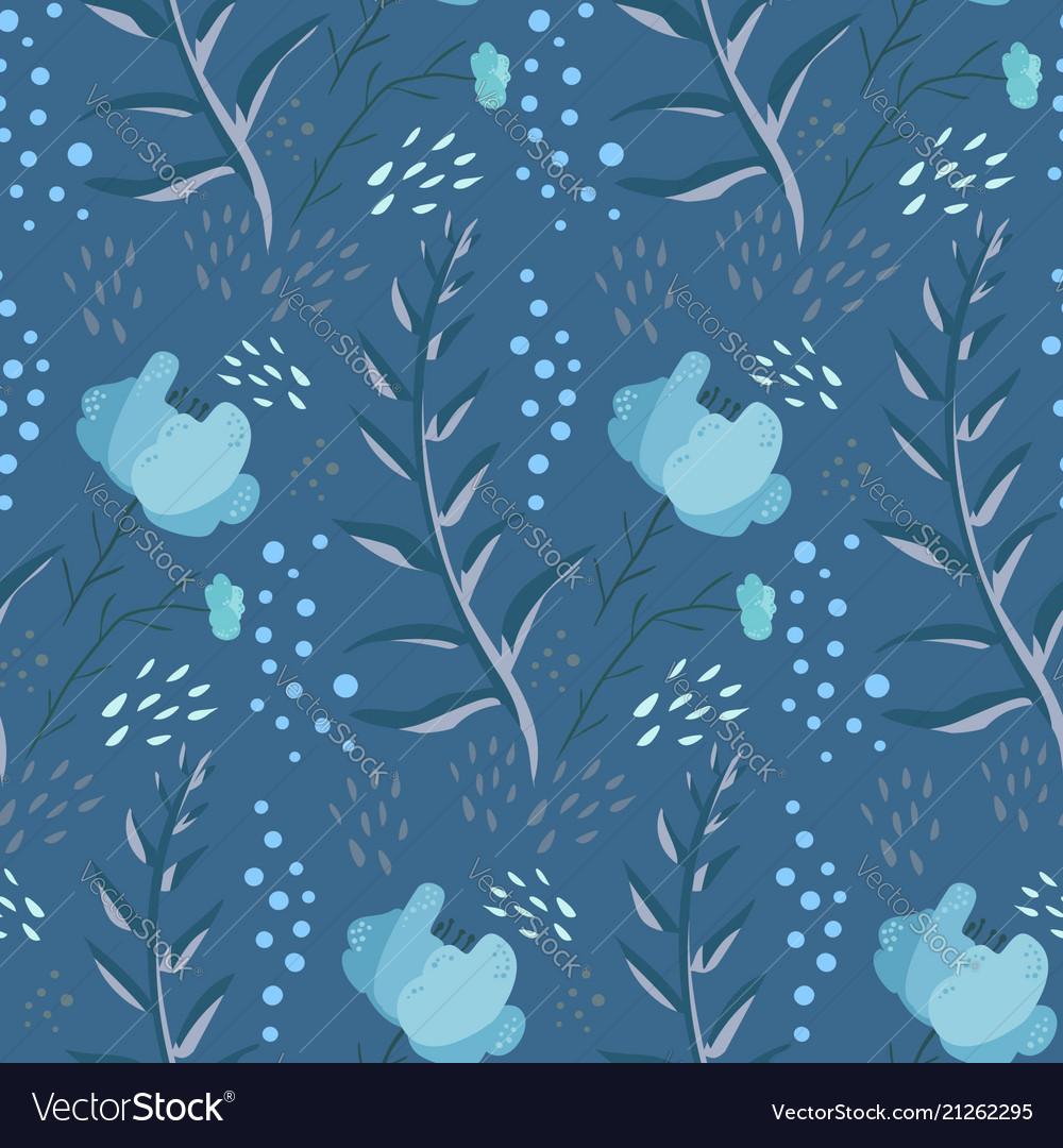 Tender blue fantasy doodle floral pattern