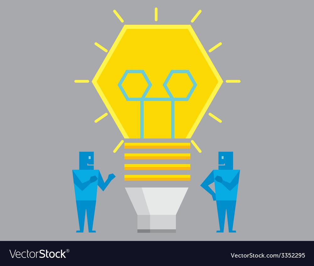 Two Businessman get idea vector image