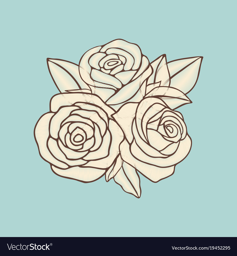 vintage hand drawn roses patch design royalty free vector