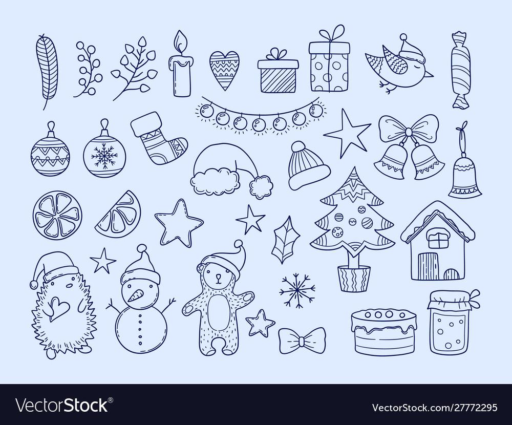 Winter season doodles new year merry christmas