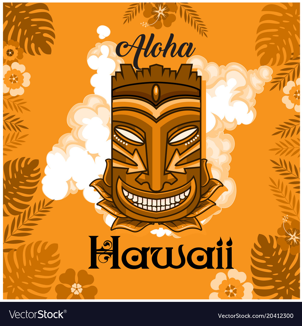 aloha hawaii tiki mask leaves orange background ve