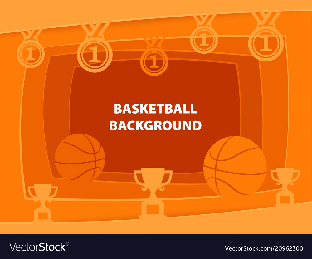 Basketball abstract background with paper cut
