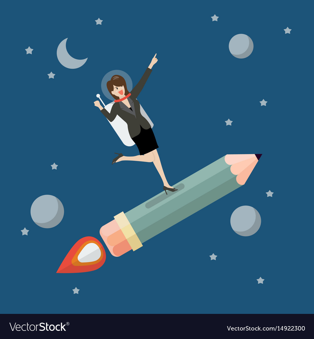 Business woman astronaut on pencil rocket