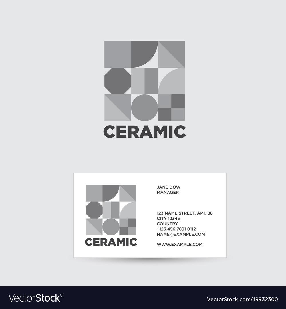 Ceramic Logo Ceramic Tiles Shop Royalty Free Vector Image