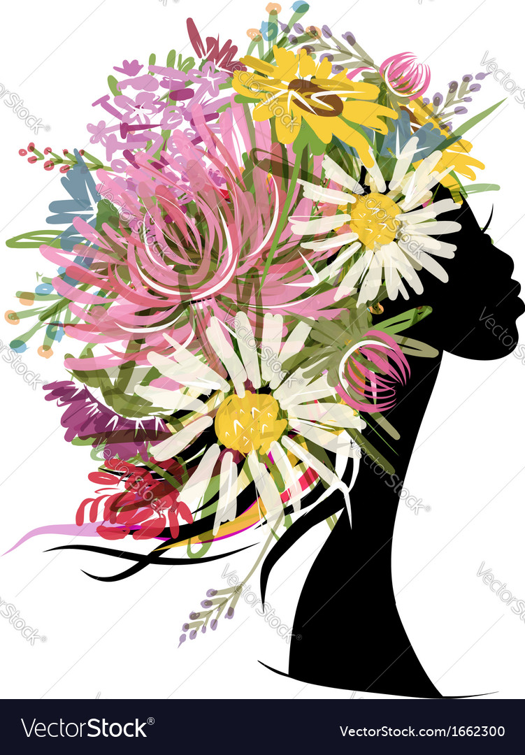 Female portrait with floral hairstyle for your