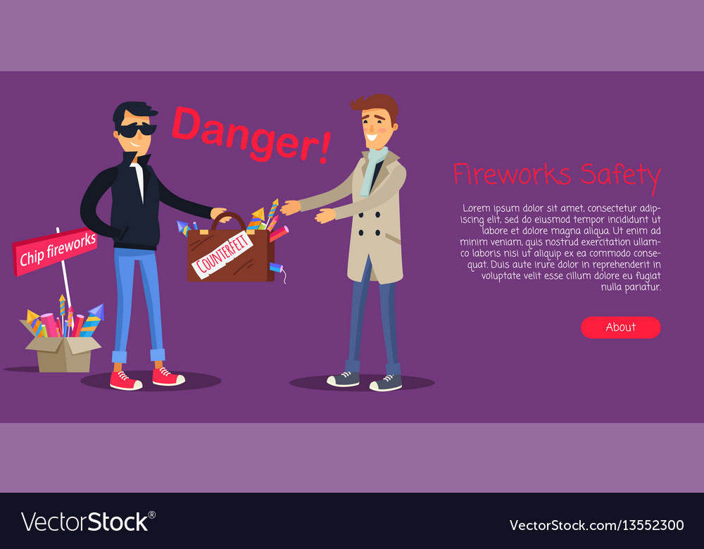 Fireworks safety man buying counterfeit elements vector image