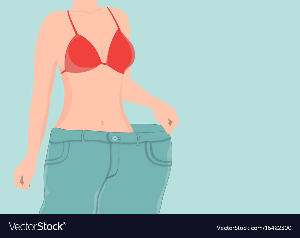 Fit young woman in loose blue jeans after losing vector image