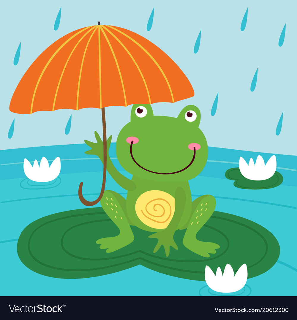 Frog hide from rain under umbrella vector image
