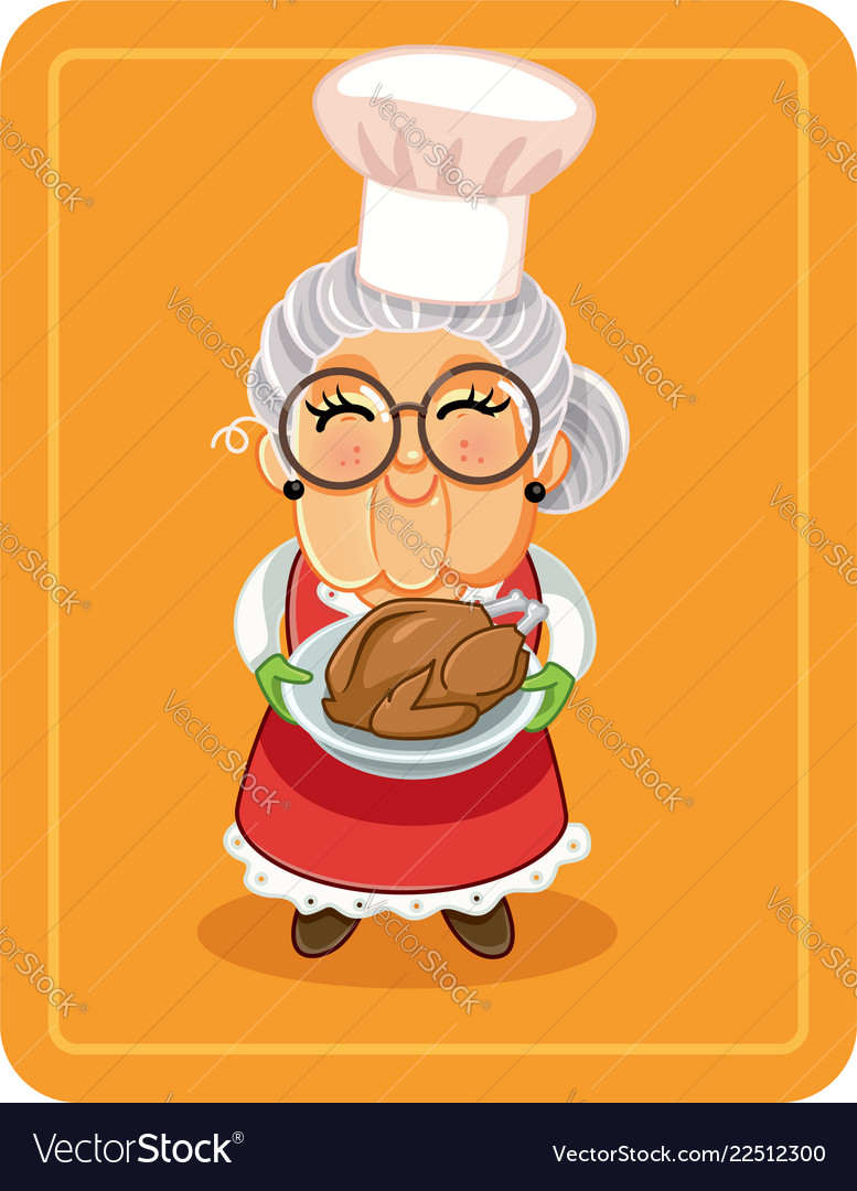 Grandma holding roasted turkey