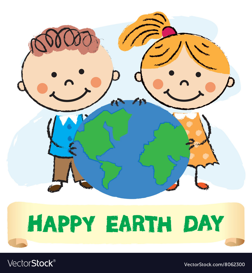 Kids with earth day Royalty Free Vector Image - VectorStock