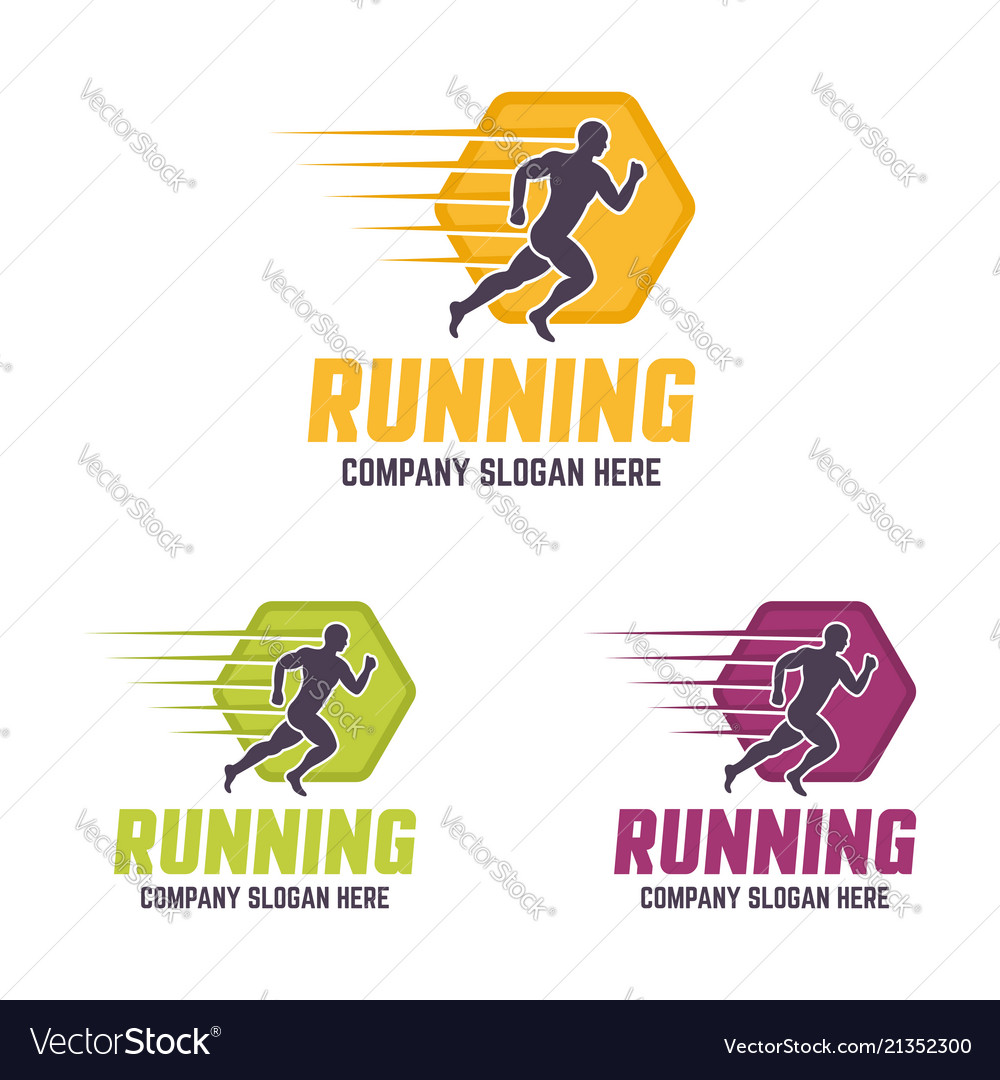 Running man silhouette colourful logo