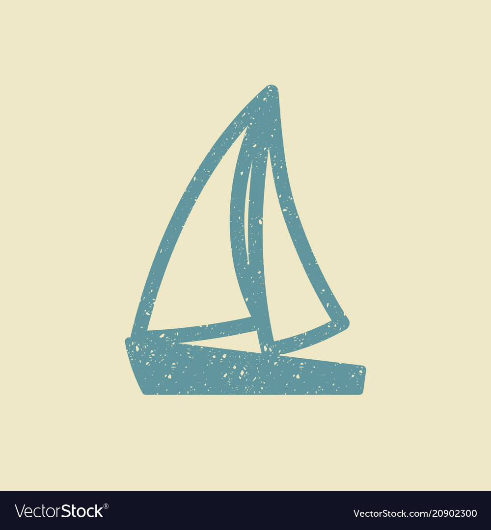 Sailboat icon in grunge style