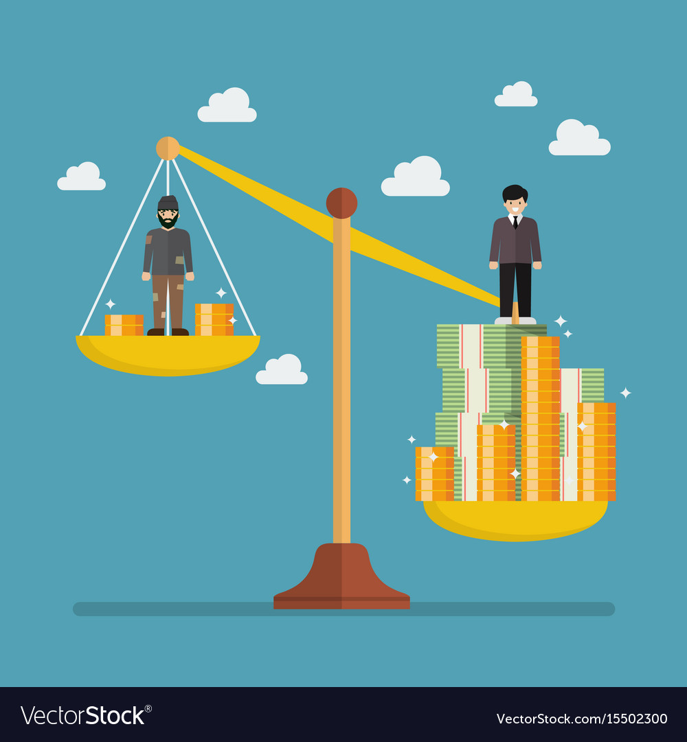 weight scale between rich man and poor man vector image