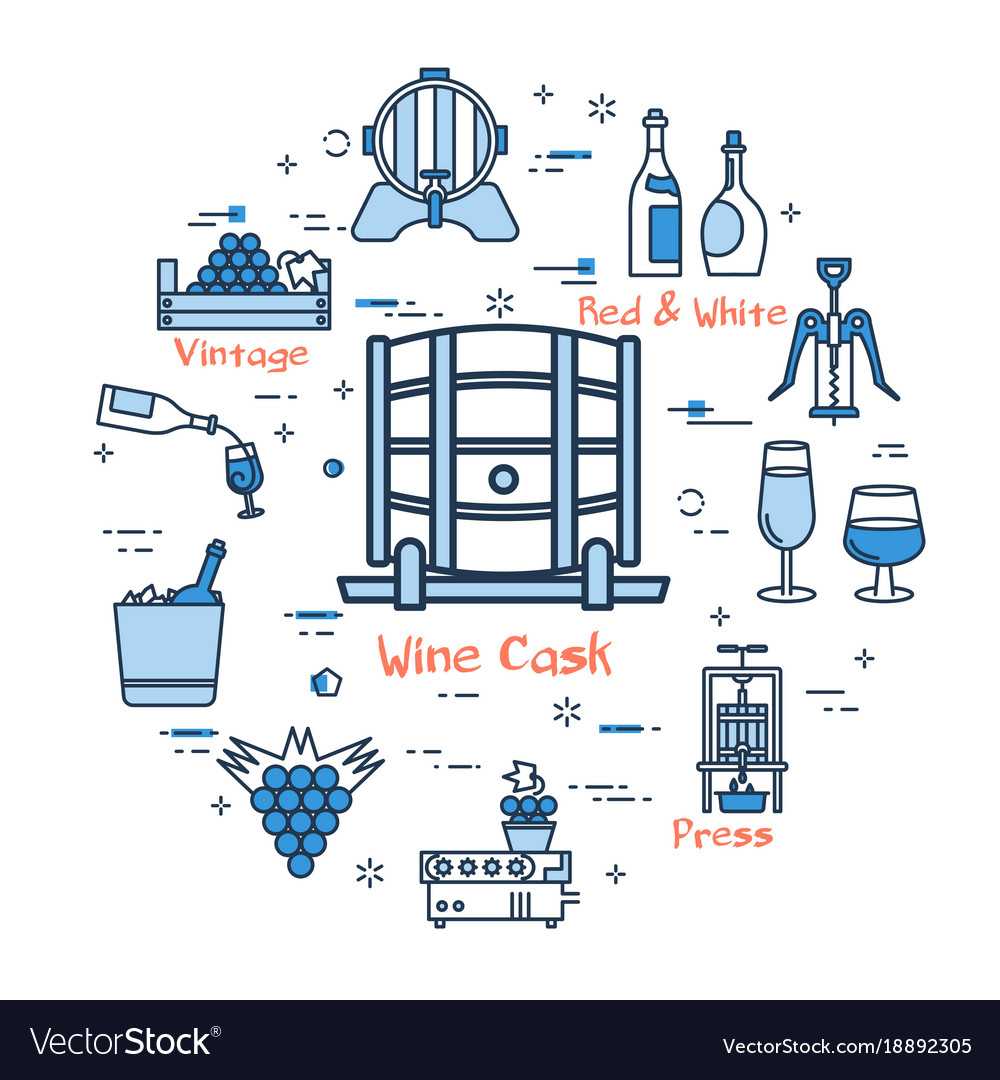 Blue round wine cask concept vector image