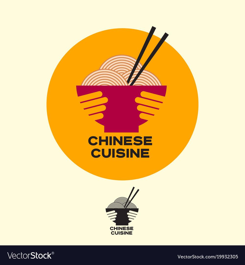 Chinese cuisine logo asian food noodles chopsticks
