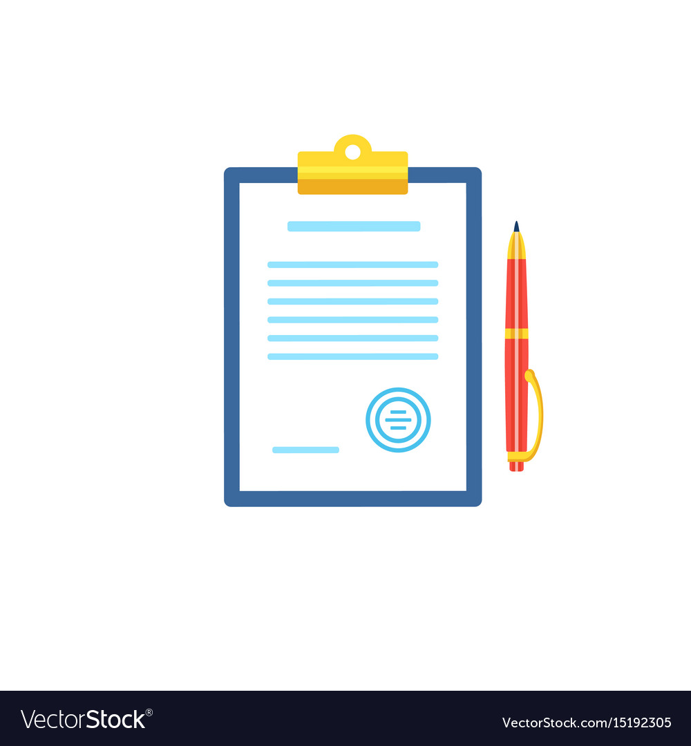 Clipboard with document icon in flat style